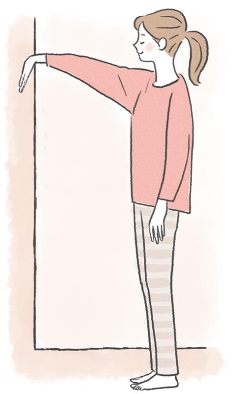 壁に手のひらをつけて肩と腕のストレッチをしている女性のイラスト