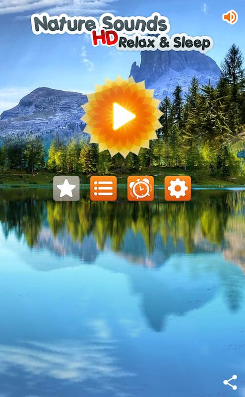 癒やしアプリ「自然の音」のトップ画面
