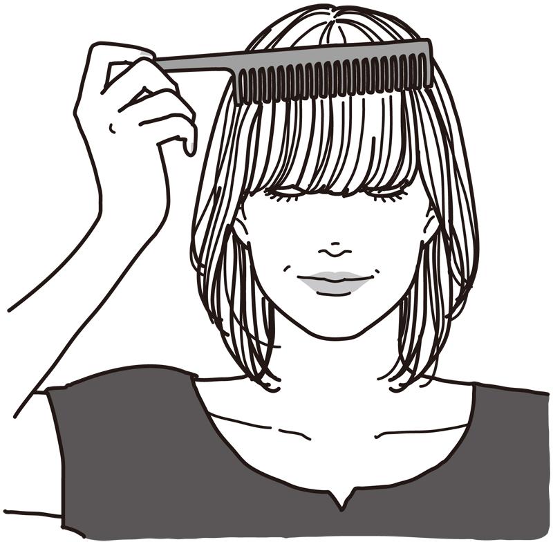 前髪をくしでとかし真っすぐ下ろす女性のイラスト