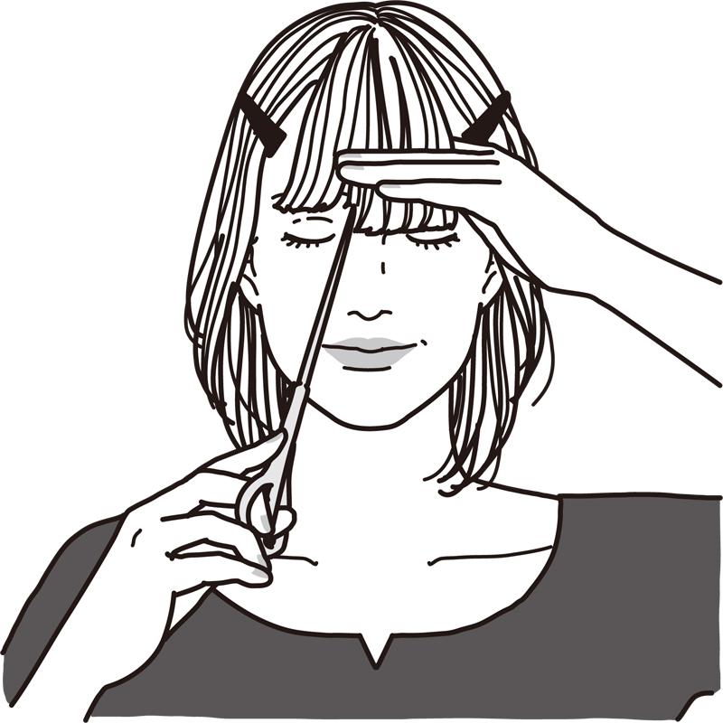人差し指をおでこにつけ端から毛先をハサミで切る女性のイラスト