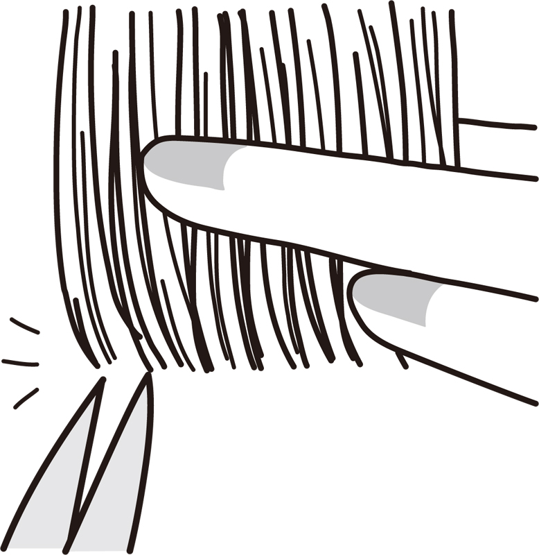 指で挟んだ毛先とハサミのイラスト