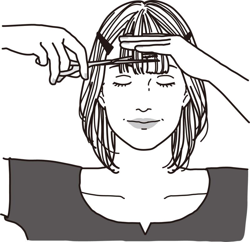 毛先から2~3㎝上の位置をすきバサミで真横に切る女性のイラスト