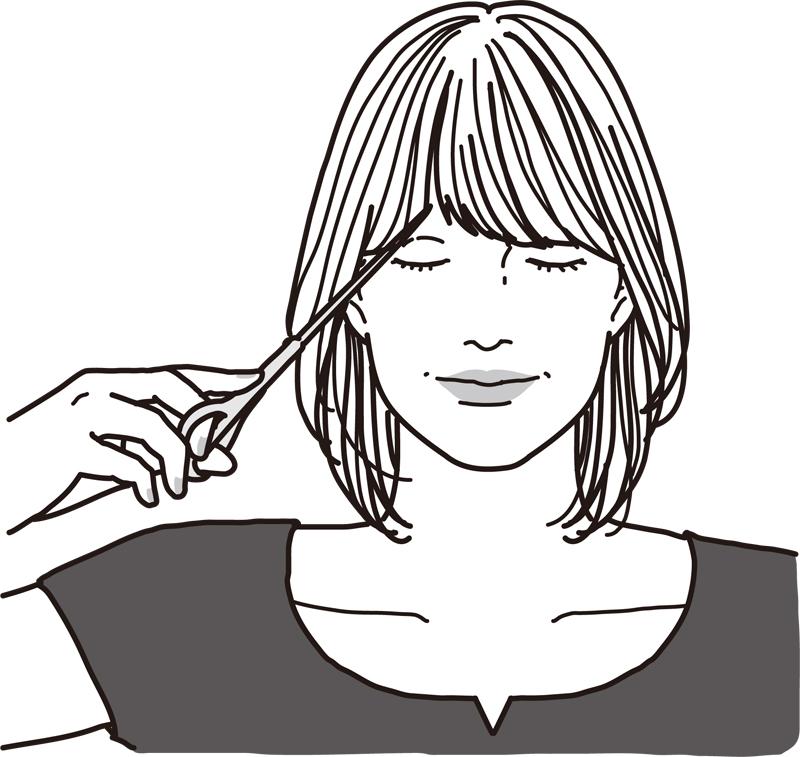 前髪の毛先1㎝ほど上の位置にハサミをあてる女性のイラスト