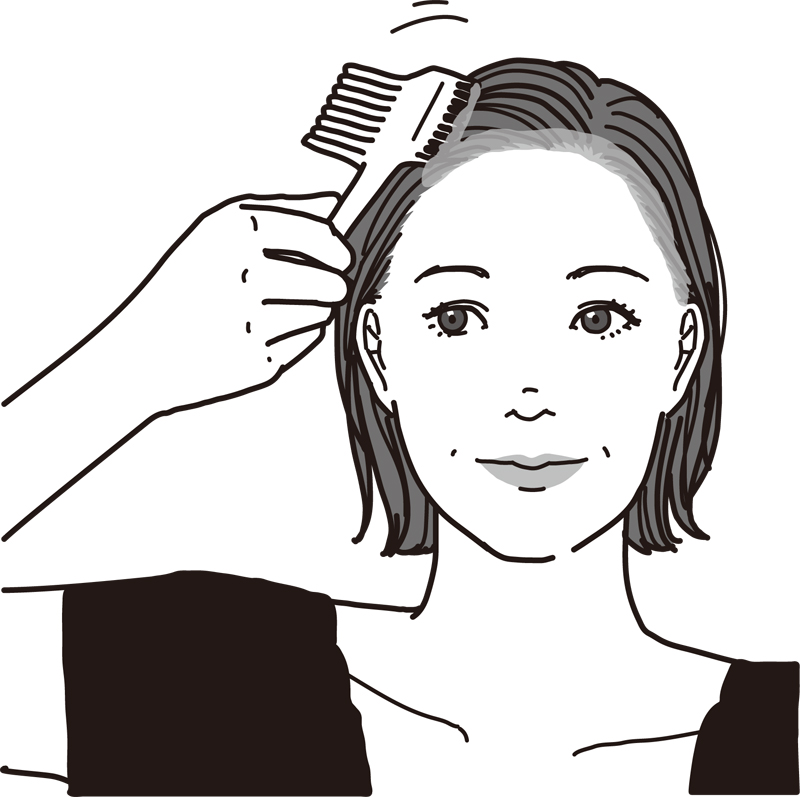 顔まわりに白髪染めの薬剤を塗る女性のイラスト