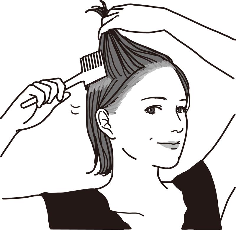 耳横の髪の毛を持ち上げ側頭部の髪にコームで薬剤を塗る女性のイラスト
