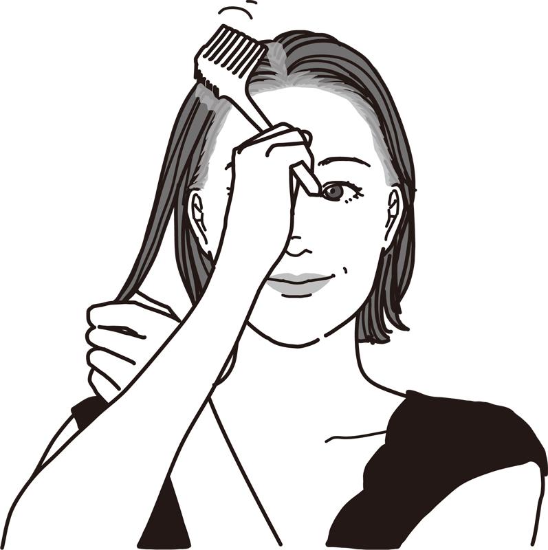 薬剤を塗った髪の根元をコームでとかす女性のイラスト