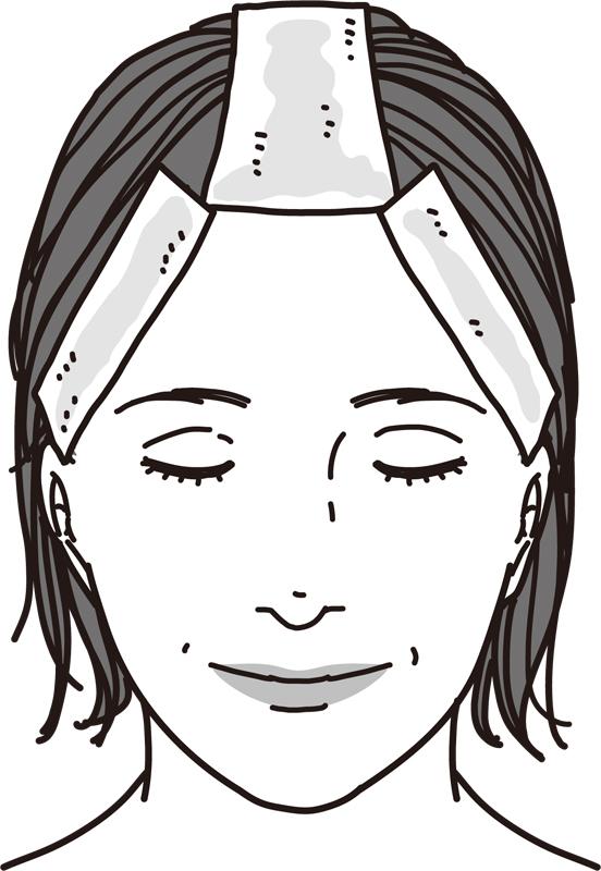 キッチンペーパーを白髪が目立つ部分に貼りつけた女性のイラスト