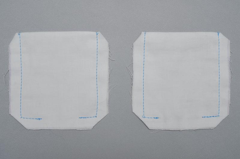 「わ」になっている方を上にし、下の返し口を約3cm残して縫い代1cm部分を縫い、四つ角をななめにカットした布地