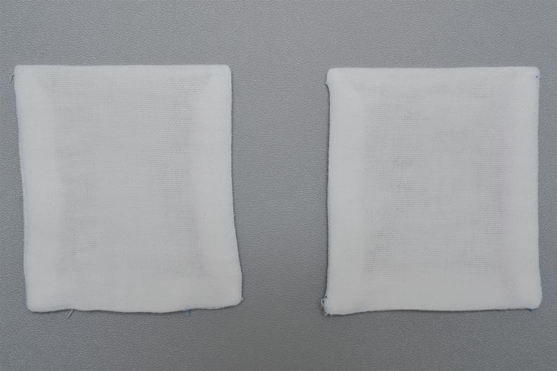 布地を表に返し、アイロンで形を整えた「ポケット」の画像
