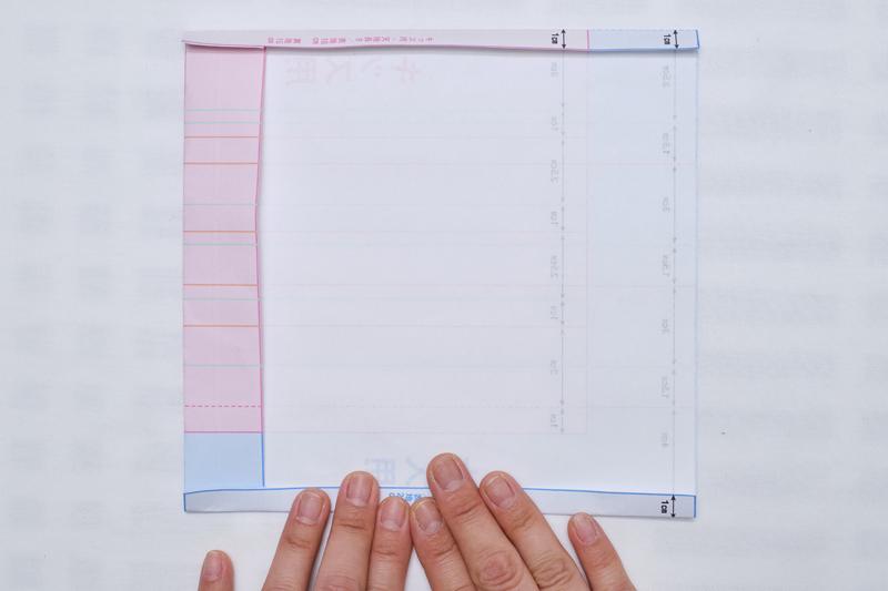 型紙の上下1㎝を折った画像