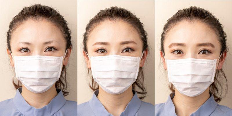 マスクをして「眉なし」「美眉」「ボサ眉」の3種の眉を比べた画像