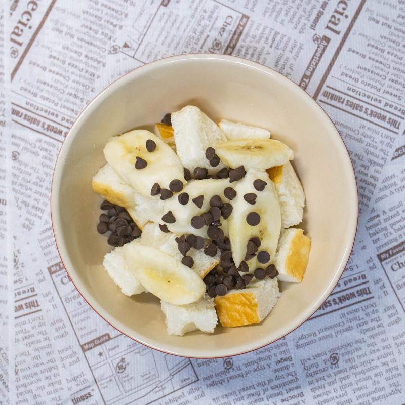 「チョコレート・ピーナッツバター・バナナフレンチトースト」の材料を混ぜたもの