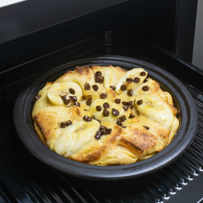 焼きあがった「チョコレート・ピーナッツバター・バナナフレンチトースト」