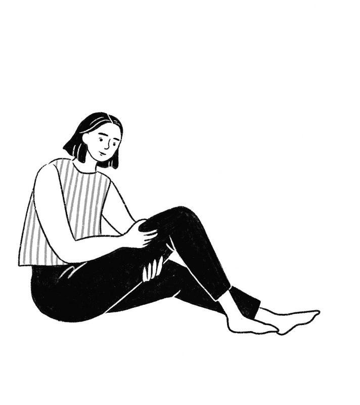 太ももをマッサージする女性のイラスト