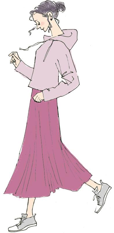 紫系のパーカーにロングスカート姿の女性のイラスト