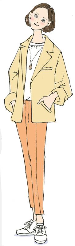 オレンジ系のジャケットとパンツに白いスニーカー姿の女性のイラスト