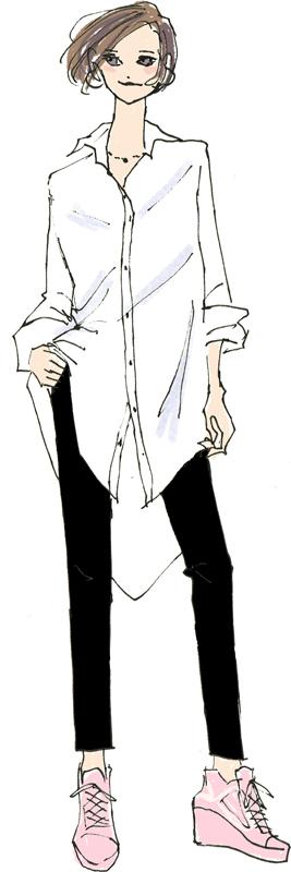 大き目の白ブラウスに黒いスキニーパンツ姿の女性のイラスト