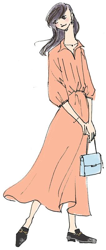 テラコッタ色のロングシャツワンピ―ス姿の女性のイラスト
