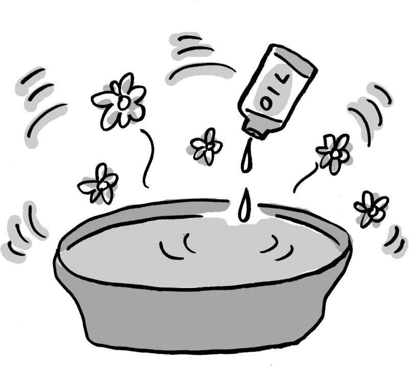 洗面器にアロマオイルを入れているイラスト