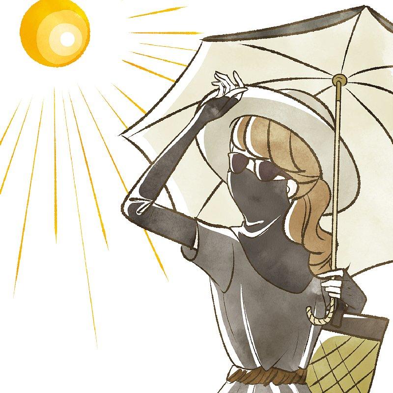 マスクをして傘を指して日焼けを予防している女性のイラスト