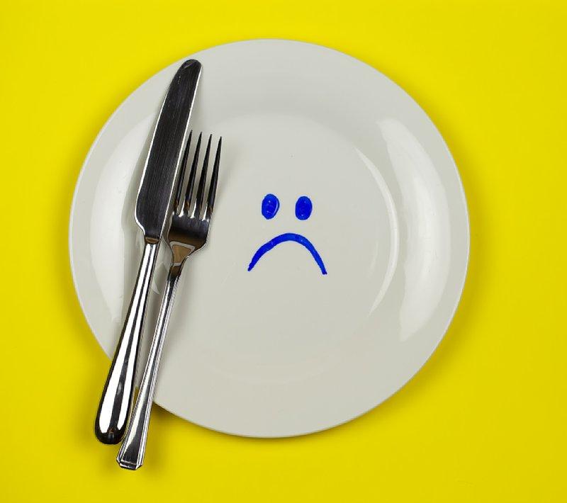 お皿にナイフとフォークが置かれている