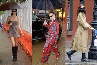 ガガはド派手な服に単色傘!ジェニロペは洗練ビニール傘|海外セレブ7人のレインファッション