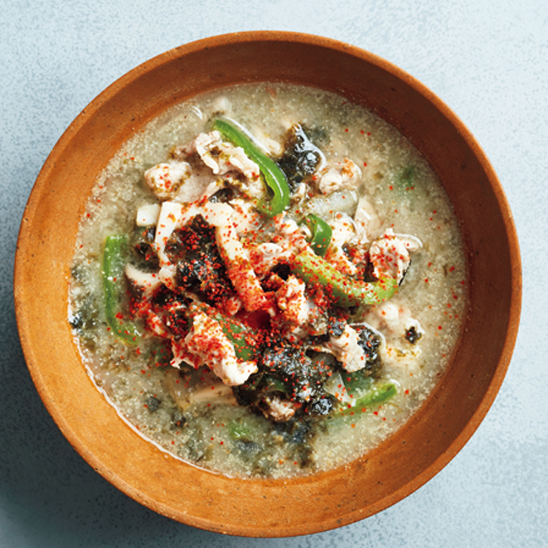 毛穴レスベジたんスープ「豚肉と海苔の酒粕豆乳スープ」