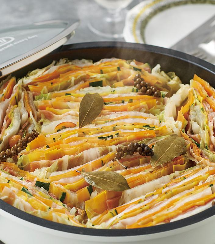 電気グリル鍋で作った野菜の重ね蒸し