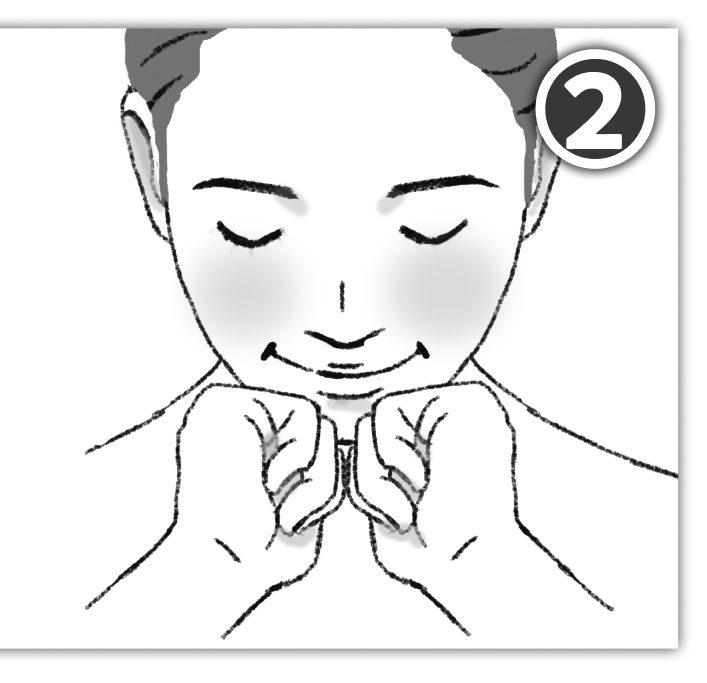 顎にこぶしをあててマッサージをしている女性のイラスト