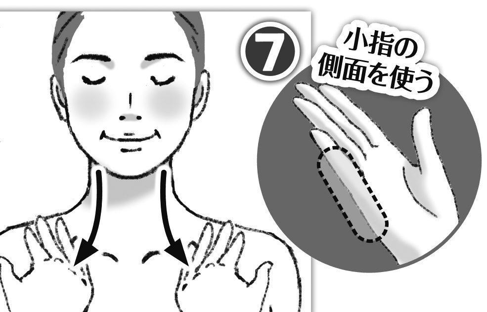 小指の側面を使って首をマッサージしている女性のイラスト