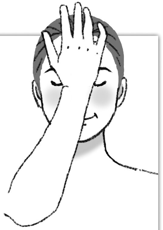 手のひらを眉間に当ててマッサージをしている女性のイラスト