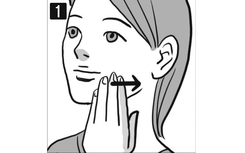 唇の左下に手を置き、指の腹で横に手をすべらせる女性の顔イラスト