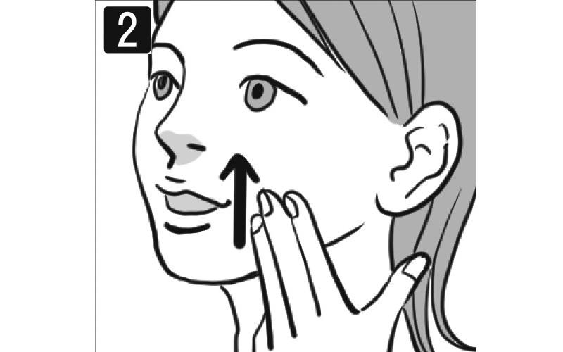 口の横を指でリフトアップする女性の顔イラスト