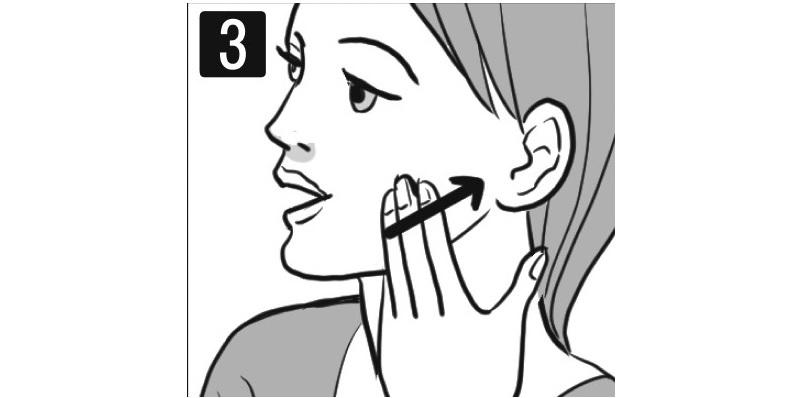 口は開けたまま下あごの骨に沿って指でなぞる女性の顔イラスト