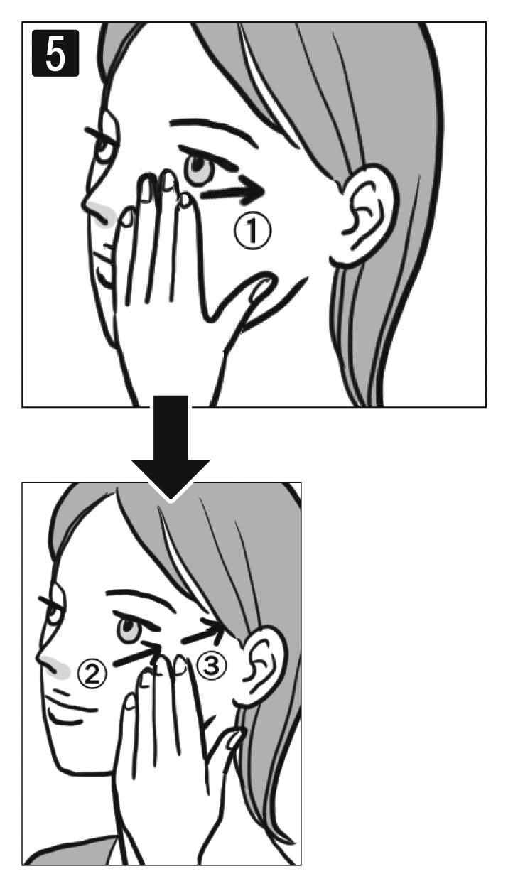 鼻の付け根付近に指を置き、耳の方向に手をすべらせる女性の顔イラスト