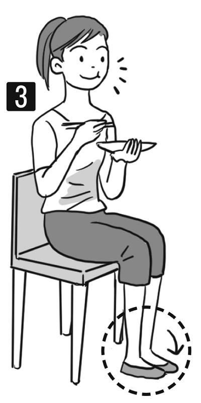 イスに座り食事で咀嚼している女性のイラスト