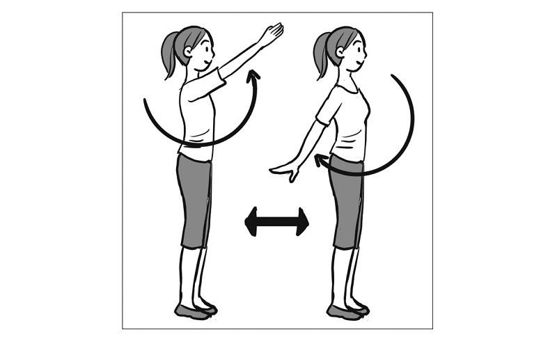 直立して腕を上から下へ振り下ろす女性のイラスト