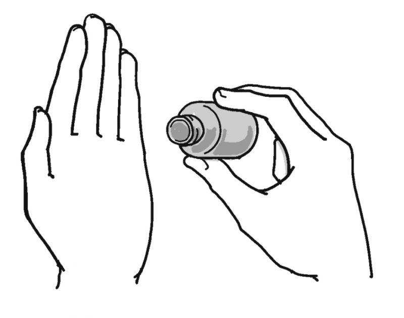 手のひらと、小瓶を持った手のイラスト