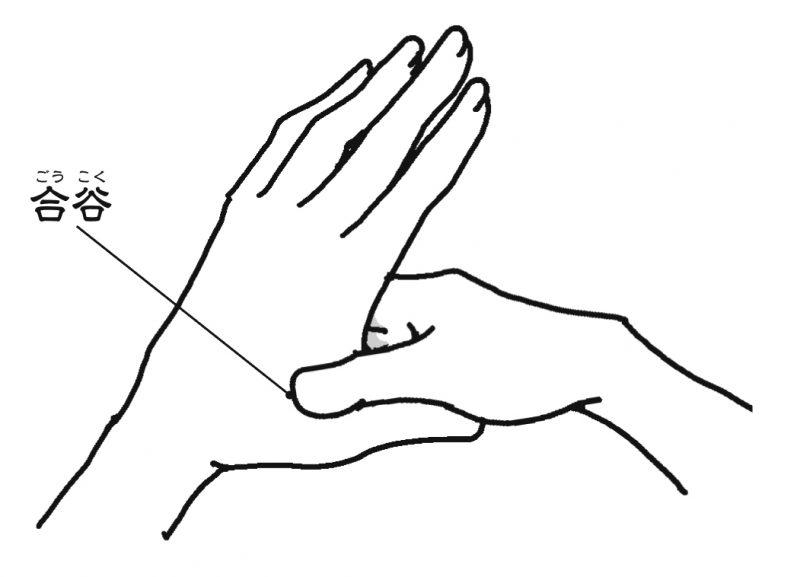 親指と人差し指の間のツボを押すイラスト