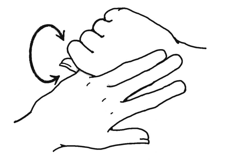 小指をつかんでマッサージするイラスト