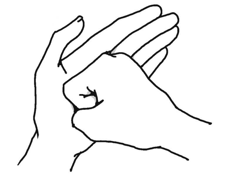 手のひらをげんこつで押すイラスト