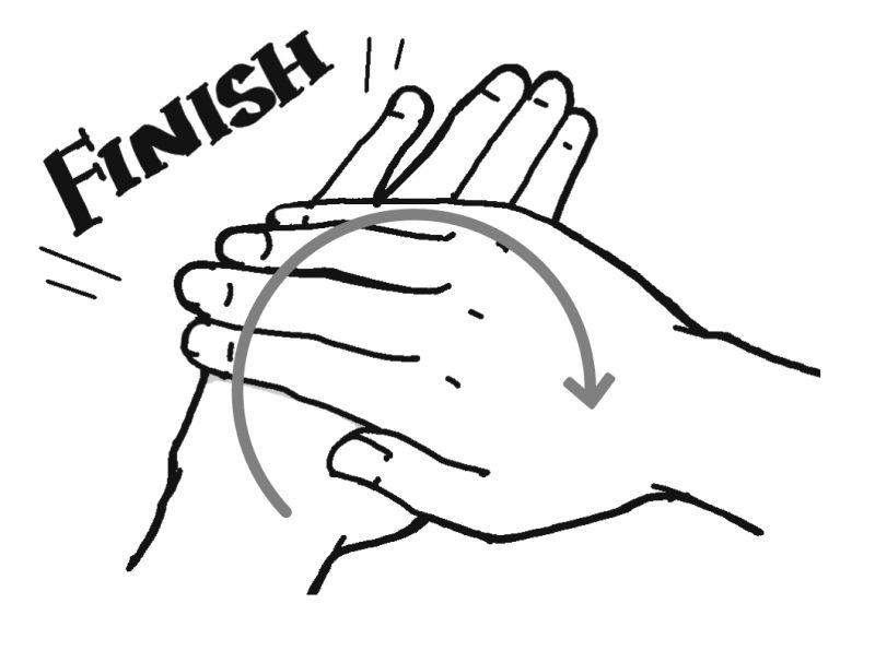 手の甲をさするイラスト