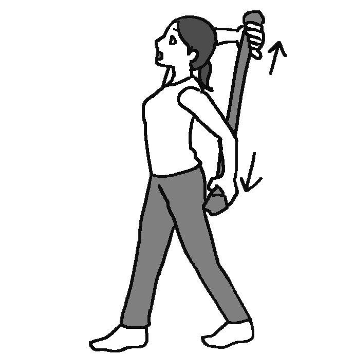 両手でつかんだタイツを背面で上下に引っ張る女性のイラスト
