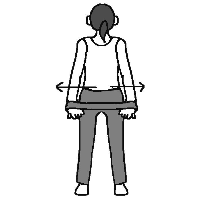 タイツを両手でつかみ、後ろのヒップ下の位置で左右にのばす女性のイラスト