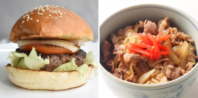 ハンバーガーと牛丼