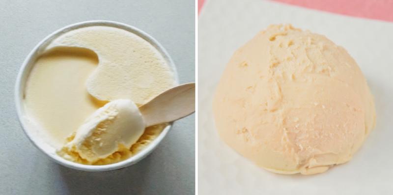 カップに入ったラクトアイスと皿に盛られたアイス