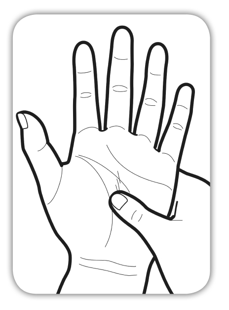 手のひらのしわもんでいる様子をイラストでわかりやすくしている