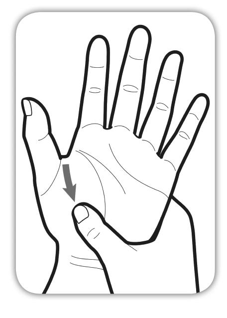 手のひらのはらから、手首に向かってマッサージしているイラスト