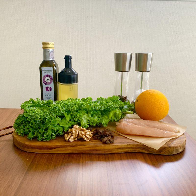 市橋有里がレシピ考案した「オレンジとケールのサラダ」材料