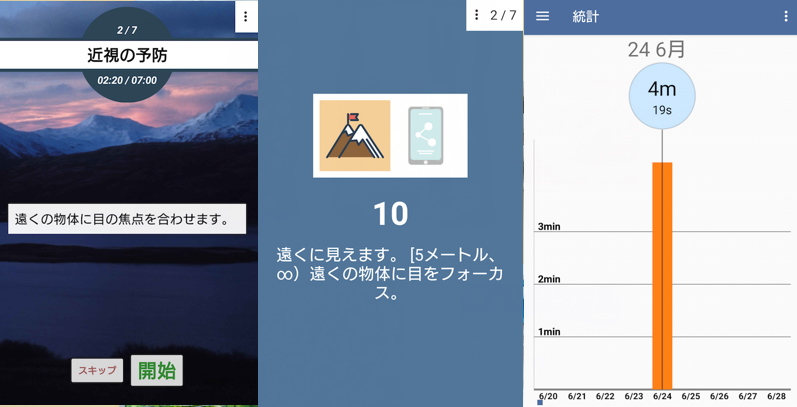 アプリ「視力向上。演習」の使用例画面